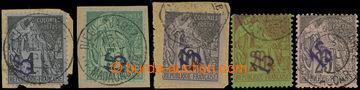 228019 - 1890-1891 Mi.1-5, přetiskové Alegorie 15C/1C - 15C/25C; ko