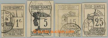 228020 - 1890 Mi.7-9, Symboly 5C - 25C, 3x s DR DIEGO SUAREZ; signov�