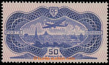 228104 - 1936 Mi.321, Letadlo nad Paříží 50Fr fialověmodrá / č
