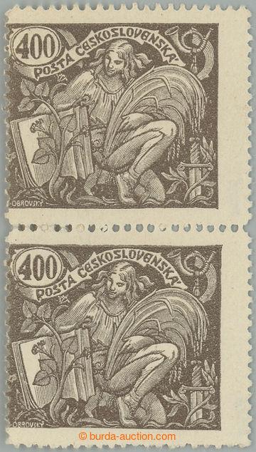 228121 - 1920 Pof.167A ST, 400h hnědá, svislá 2-páska, spojené t
