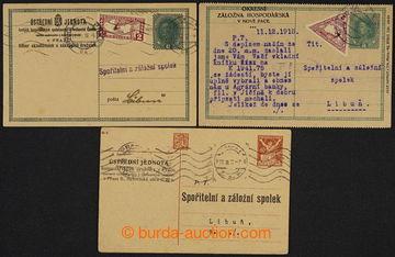 228127 - 1918-1921 sestava 3 dopisnic se soukromými přítisky, 2x d