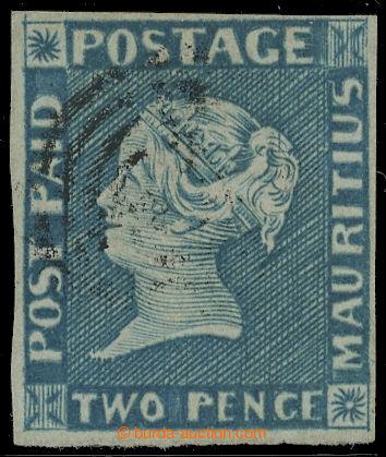 228185 - 1848 SG.8, Modrý Mauritius POST PAID 2P early impression (v