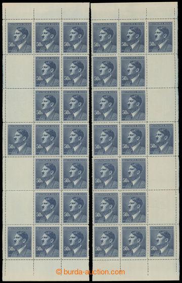 228202 - 1942 PÁSY / Pof.99, A.H. 50K modrá, levý a pravý svislý