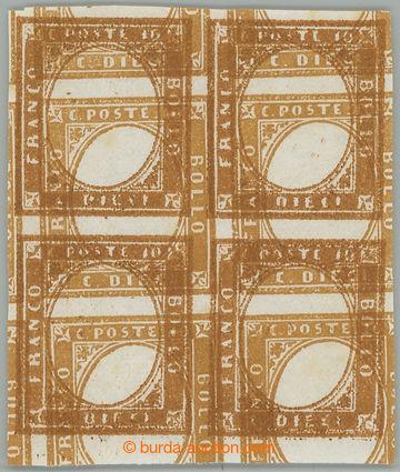 228204 - 1858 Sass.14var, 4-blok ZT Viktor Emanuel II. - 10C hnědá,