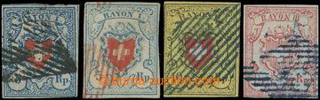 228218 - 1850-1852 Mi.8, 9, 12, Rayon I-III, modrá ve 2 odstínech,