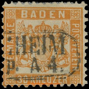 228221 - 1862 Mi.22a, Znak 30Kr oranžová raz. PFORZHEIM; pěkný ex