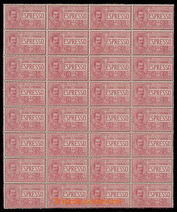 228235 - 1903 Sass.E1, Expresní 25C červená; luxusní 32-blok, kat