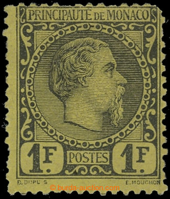 228277 - 1885 Mi.9, Karel III. 1Fr černá / žlutá; pěkný exempl�