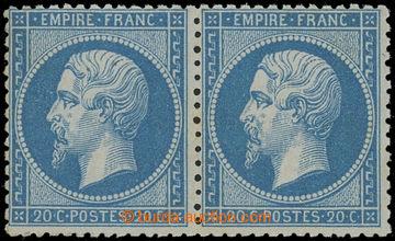 228294 - 1862 Mi.21a, Napoleon III. 20C modrá, vodorovná 2-páska;