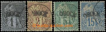 228322 - 1892 Mi.1, 2, 4 a 6I, Alegorie 1C, 2C, 5C a 15C s přetiskem
