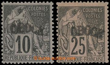228323 - 1892 Mi.5I, 8I, Alegorie 10C a 25C s přetiskem OBOCK I. typ