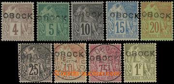 228325 - 1892 Mi.3II-12II, Alegorie 4C - 1Fr s vodorovným přetiskem