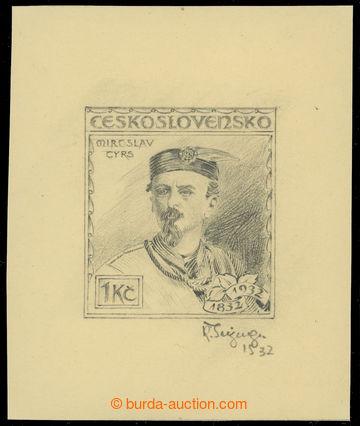 228343 - 1932 kresba tužkou známky M. Tyrš 1Kč, Pof.269, rozměr