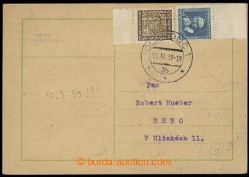 228344 - 1939 1. DEN protektorátu ČaM, lístek vyfr. čs. zn. Znak