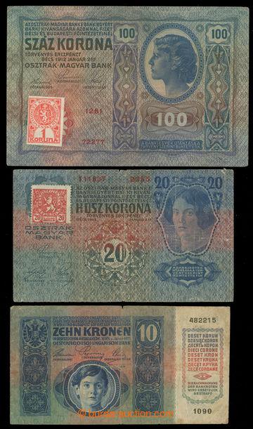 228368 - 1919 Ba.1a, Ba.2, Ba.5a, sestava 3ks kolkovaných bankovek,