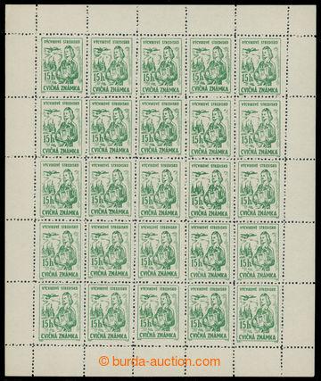 228369 - 1954 CVIČNÉ ZNÁMKY - VÝPLATNÍ / Pof.1A, 15h zelená, ko