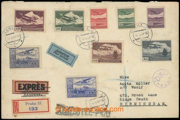 228409 - 1939 PRAHA - BIRMINGHAM, filatelisticky motivovaný R+Ex+Let