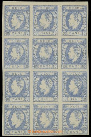 228436 - 1869 Mi.22a, Karel I. 10B modrá, 12-BLOK (!), nezoubkované
