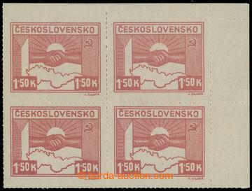 228444 -  Pof.353a, 1,50K světle karmínová, pravý horní 4-blok;