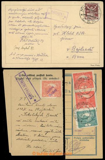 228498 - 1919-1921 sestava 3ks celistvostí s otisky znárodněných