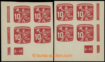 228569 - 1945 Pof.NV24 plate number, Newspaper stamps 10h, R and L lo