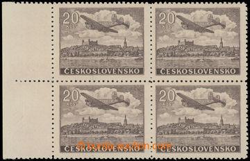 228603 - 1946 Pof.L22N, NEVYDANÁ 20Kčs hnědá, 4-blok s levým okr