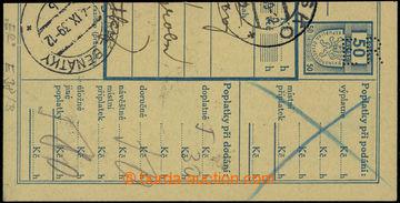228781 - 1939 Maxa E38, ústřižek balíkové průvodky s perfinem E