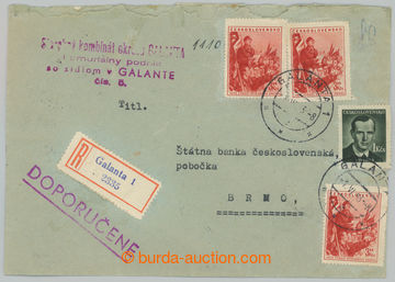 228837 - 1953 1. DEN - SLOVENSKO / firemní R-dopis s celkovou franka
