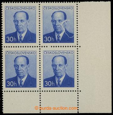 228867 - 1953 Pof.736 production flaw, Zápotocký 30h blue, LR corne