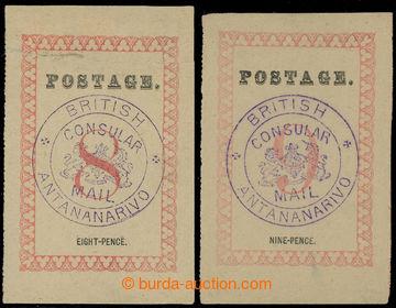 228947 - 1886 SG.26a, 27b, BCM POSTAGE 29mm, hodnoty 8P a 9P s FIALOV