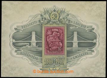 228980 - 1949 Mi.Bl.17, aršík 100 let řetězového mostu v Budape�