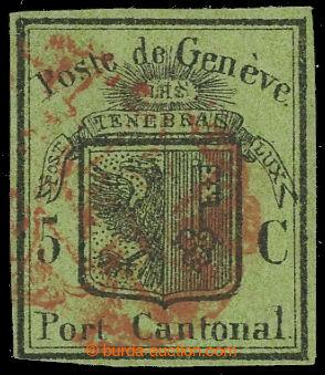 229006 - 1847 ŽENEVA / SG.4, Velký orel 5C zelená, s červeným ro