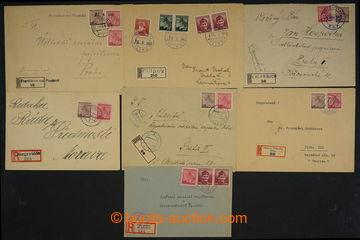 229070 - 1945 ČECHY / sestava 11ks R-dopisů s provizorními raz. ne