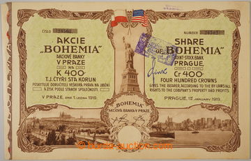 229096 - 1919 ČSR / akcie banky BOHEMIA v Praze na 400K, ze dne 1.1.