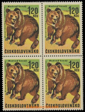 229126 - 1966 Pof.1572 OHZ, Medvěd 1,20Kčs, 4-blok s obráceně pos
