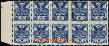 229239 -  Pof.143A R1, 5h modrá, krajový 10-blok s retuší v dopis