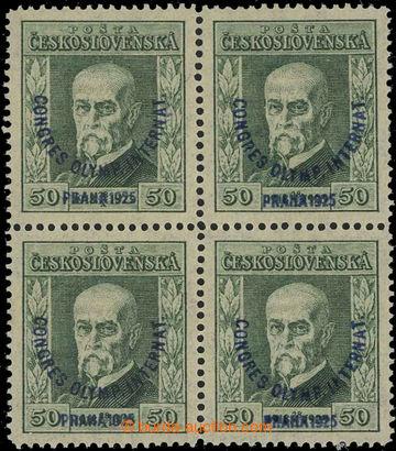 229241 -  Pof.180, Kongres 50h zelená, 4-blok s průsvitkou P8; svě