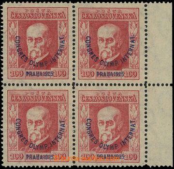 229242 -  Pof.181, Kongres 100h červená, pravý krajový 4-blok s p