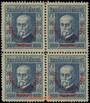 229243 -  Pof.182, Kongres 200h modrá, 4-blok s průsvitkou P8; svě