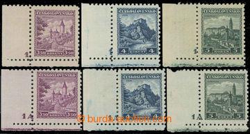 229247 -  Pof.265-267 DČ, Hrady 3,50 - 5Kč, 2 kompletní série lev