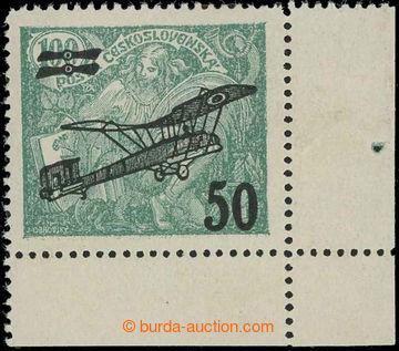 229249 - 1922 Pof.L4 DV 2, II. letecké provizorium 50/100h zelená,