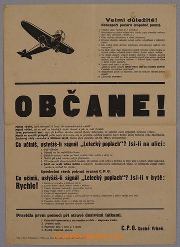 229313 - 1938 CZECHOSLOVAKIA 1918-39 / OBČANE! informative poster as