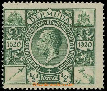 229446 - 1921 SG.75w, Jiří V. Znak ½P zelená s variantou průsvit