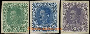 229507 - 1917 VÝPLATNÍ / MALÝ FORMÁT / Mi.222bU, 223U, 224U, Kare