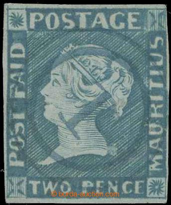 229508 - 1848 SG.14, Modrý Mauritius POST PAID, 2P light blue interm