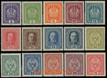 229510 - 1916 VÝPLATNÍ / Mi.185-199, Koruna, FJ I. a Znak 3h - 1K,