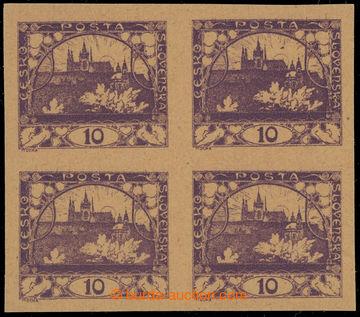 229546 -  ZT  hodnoty 10h, 4-blok ve fialové barvě, neotypie, na na