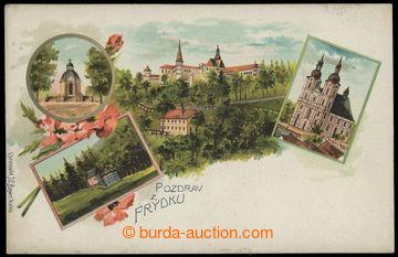 229567 - 1900 Frýdek - zámek, kostel, kapličky, barevná lito kol�