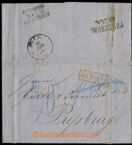 22958 - 1865 skládaný dopis zaslaný z Rigy do Presburgu, vzadu po