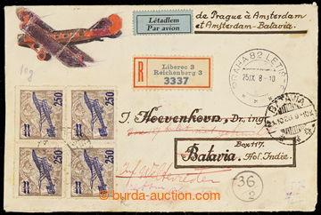 229711 - 1928 PRAHA - BATAVIA, R+Let-dopis zaslaný na Jávu (!), vyf